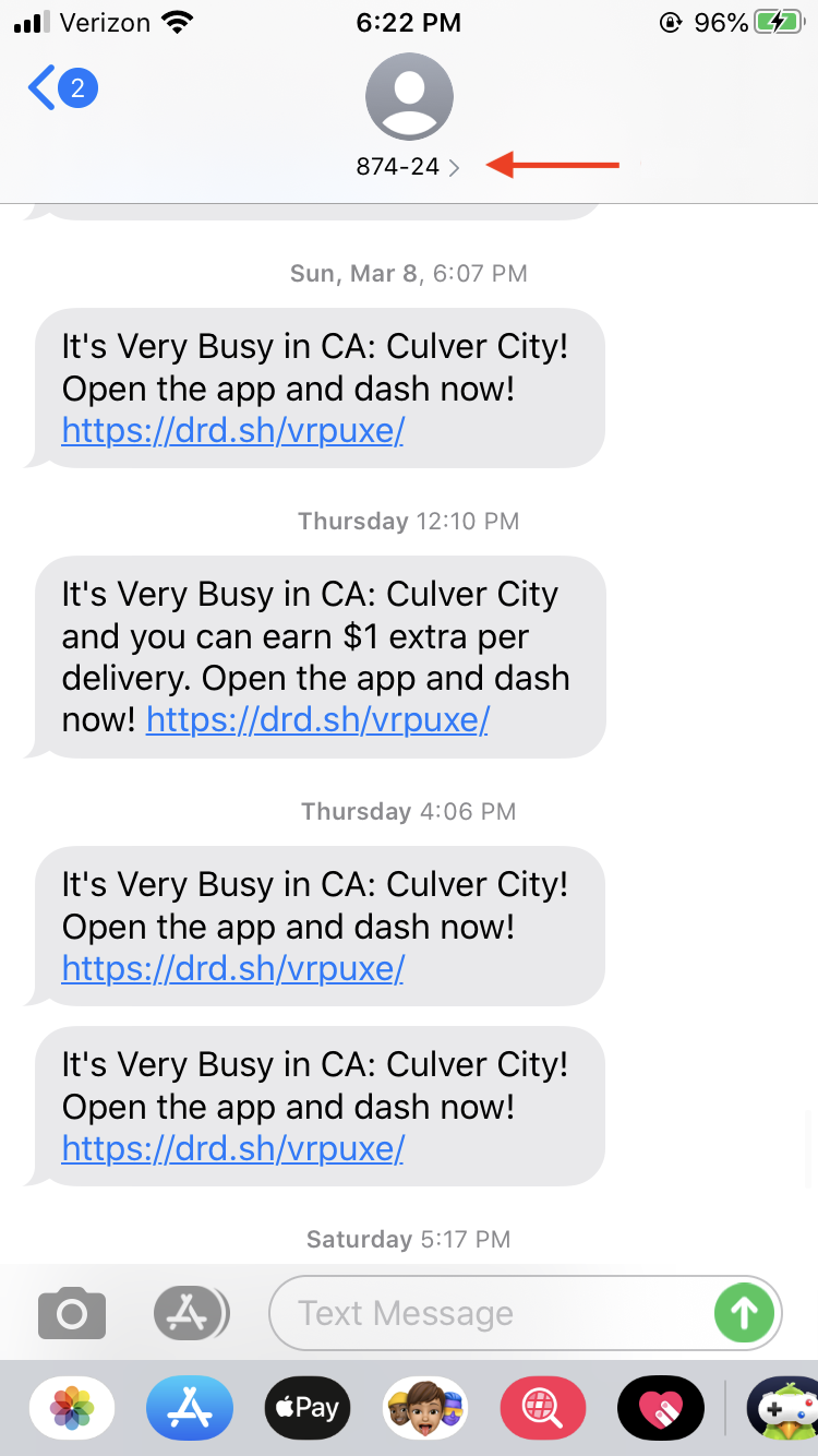 Notifications From Doordash And Texts From Customers